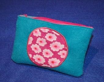 Blue felt pouch