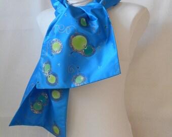 scarf-scarf in blue silk taffeta