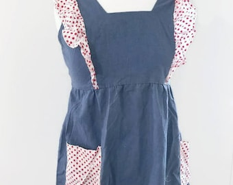 Vintage Dress Apron with Polka Dots Ruffles and Pockets Close and Open with Zipper