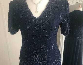 Navy Blue Formal Dress with Beads and sequins From BRILLIANTE Size Large  Mother of the Bride Evening Dress