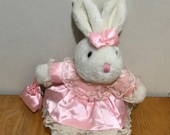 Cutest Easter Bunny wearing a Pink Dress and Holding a Purse Easter Basket Gift Easter Decoration Plush Bunny