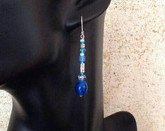 Earrings ethnic /perles blue glass and crystal blue/turquoise, blue Sapphire/long dangle/gift for her