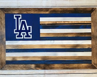 Los Angeles Dodgers wooden flag - customizable - ready to hang