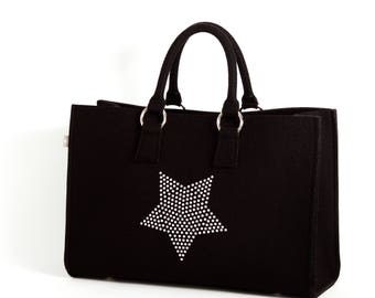Felt bag black shopper Sarah with star Silver 100% Merino design wool felt-size B 44 x H 30 x D 18 cm