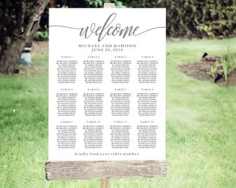 Wedding Seating Chart Template | Editable PDF, Printable Seating Plan Poster, Seating Board | SILVER Lettering | ED 5153C