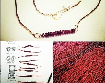 18K gold handmade 'line of 14 ruby beads' necklace