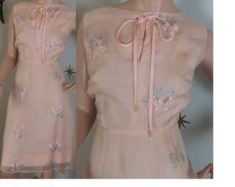 Vintage 1960s pink organdy metallic floral party tea dress medium 225