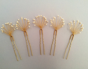 Baby's Breath Hair Pins, Bridal Hair Pins, Pearl Hair Pins, Gold Hair Pins