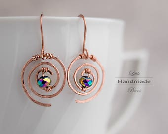 Earrings hanging copper rosé massive wire wrapped beaten glass crystal colored