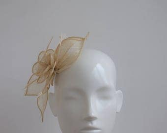 Beige Fascinator - Natural Headpiece - Ecru Fascinator - Wedding Headpiece - Straw Fascinator - Stone Fascinator - Beige Wedding Hairpiece