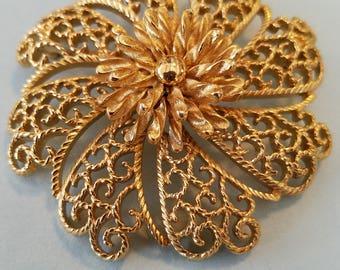 Vintage Monet Goldtone Filigree Brooch,  Goldtone Flower Filigree Brooch,  Filigree Brooch