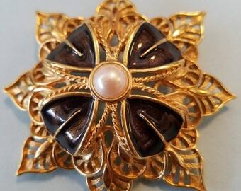 Vintage Monet Goldtone Brooch with dark brown enamel and faux pearl, Vintage Monet,  brooch,  pin