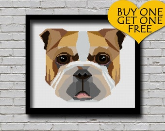 Cross Stitch Pattern English Bulldog Pet Pattern Modern Home Decor Dog Face Geometric E Pattern