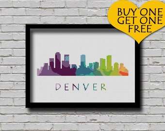 BOGO Cross Stitch Pattern Denver Colorado City Silhouette Watercolor Effect Decor Modern Embroidery Usa City Skyline Art xstitch Diy Chart