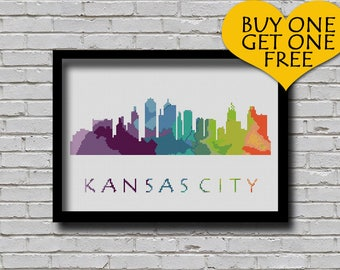 Cross Stitch Pattern Kansas City Missouri Silhouette Watercolor Effect Decor Modern Embroidery Usa City Skyline Art xstitch Diy Chart
