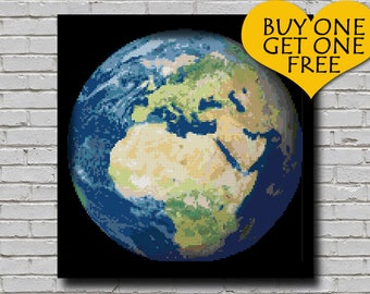 Cross Stitch Pattern Earth Globe Decor World Globe Embroidery Europe Africa Continent from Space Earth Planet xstitch Printable Chart