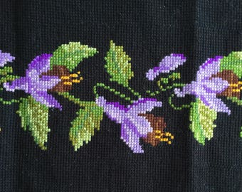 Vintage flower tapesty length, table runner or wall hanging - purple Fuchsias
