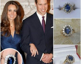 princess kate engagement ring in 14kt yellow gold with genuine natural ceylon oval sapphire and genuine - Princess Diana Wedding Ring