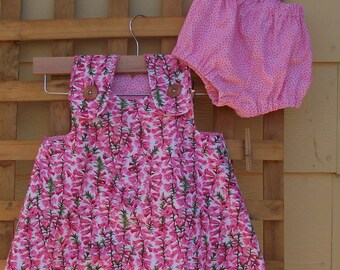 Baby/toddler crossover dress with matching nappy cover