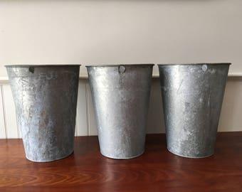 Three Vintage Sap Bucket Sap Buckets Vermont Galvanized Sap Buckets Garden Planter Galvanized Bucket Maple Sap Bucket Industrial Buckets