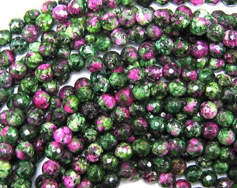 "6mm faceted ruby zoisite jade round beads 15.5"" strand S2 34031"
