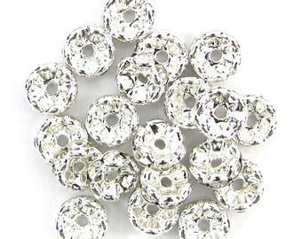 15 10mm silver plated rhinestone rondelle beads Clear findings 13634