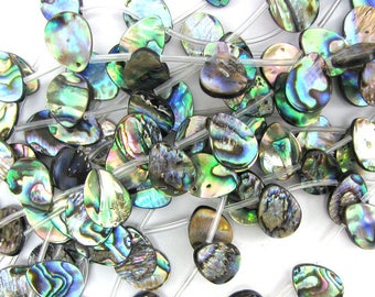 "16mm abalone shell flat teardrop beads 18"" strand S2 33057"