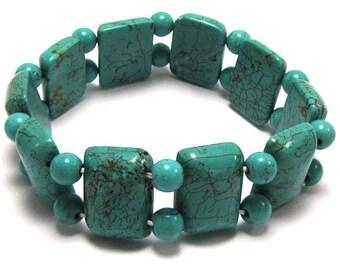 "20mm blue turquoise stretch bracelet 8"" 16438"