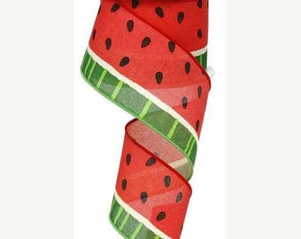 "SALE 2.5""x 10 yards- Watermelon Ribbon, Watermelon slices ribbon, watermelon ribbons, watermelon slices, wired watermelon ribbon, ribbons"