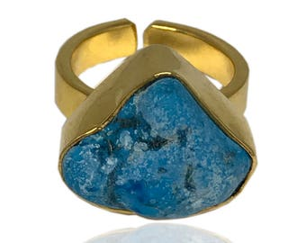 Genuine Turquoise Ring, golden ring, turquoise and gold, open ring, adjustable ring