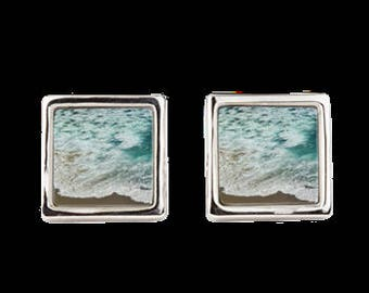 "Square Cufflinks ""Ocean Meets Beach"""