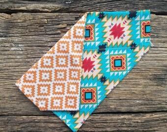 Southwest dog bandana and orange southwest reversible over the collar