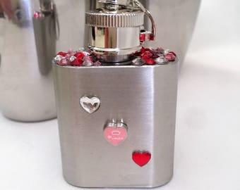 Swarovski Crystal Encrusted Keychain Flask Stocking Stuffer