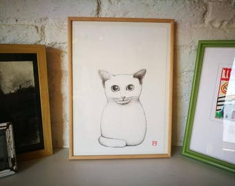 Cat. Nº 9. Original drawing. Pencil on paper. 29.5x21 centimeters. Gift, Christmas, petite illustration, cats, pets, animals.