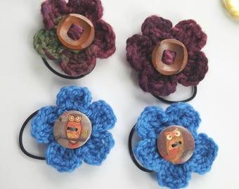 Flower elastic, hair tie, ponytail, hair flower, hair accessory, hair accessories, Easter basket, little girl hair tie, hair elastic set G5
