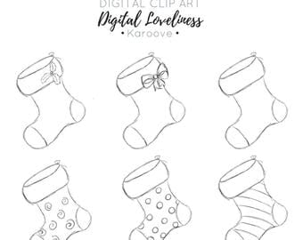 Christmas Stockings Sketch Style, Digi Stamp , Commercial Use , Instant Download