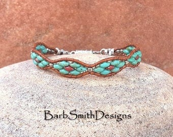 "Slim Leather Beaded Bracelet-Turquoise Red Silver Wrap Bracelet-Magnet Clasp-Size 6 1/2""-Custom Sizes-Flower Girl in Turquoise n' Poppies"