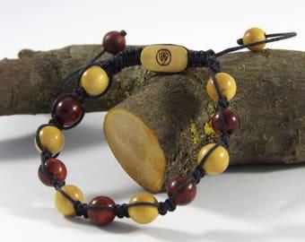 Bracelet Amarelo Shamballa and Padauk Bracelet men women-wooden beads wood precious Shamballa made hand Taamak