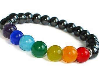 7 Chakra Bracelet Hamsa bracelet Reiki bracelet Yoga Energy bracelet Om Rainbow bracelet pride Protection bracelet Meditation Bracelet Mala