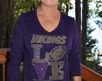 Vikings Love football rhinestone  bling  shirt,  all sizes XS, S, M, L, XL, XXL, 1X, 2X, 3X, 4X, 5X