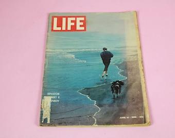 60's LIFE Magazine Robert F. Kennedy Life and Assassination June 14 1968 Historic Vintage Retro Art Collectible Memorabilia History