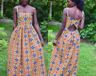 Maxi dress, Long dress, Orange  Maxi dress, Orange prints maxi dress, Backless maxi dress, African clothing, African maxi dress