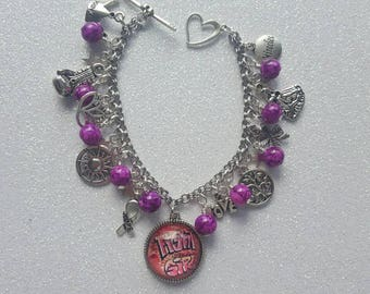 Breast cancer support charm bracelets