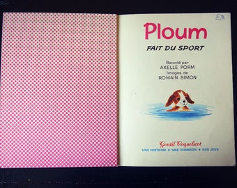 "Child album - ""Ploum made sport"" - small dog vintage 1967 book."