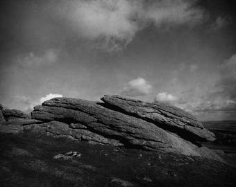 Fine art Dartmoor black and white photography, moody landscape, Large rock, home decor, moorland print, nature photography,countryside