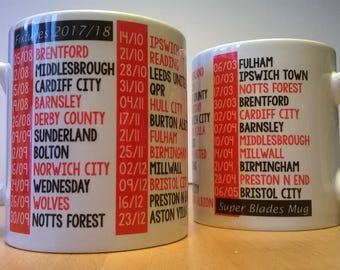 Sheffield United Fixtures Mug 2017/2018 for SUFC Blades fans