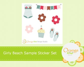 Green Beach Sample Sticker Set, Beach Stickers, Girly Summer Stickers, Planner Stickers