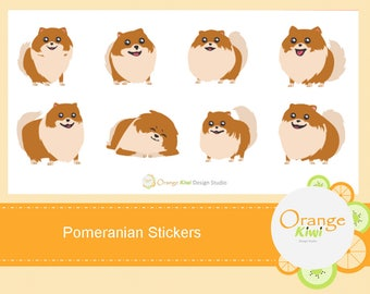 Pomeranian Stickers, Dog Stickers, Planner Stickers