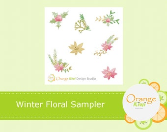 Winter Floral Sampler Stickers, Floral Stickers, Winter Planner Stickers