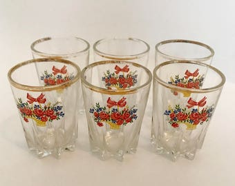 Vintage Set of 6 Floral Shot Glasses